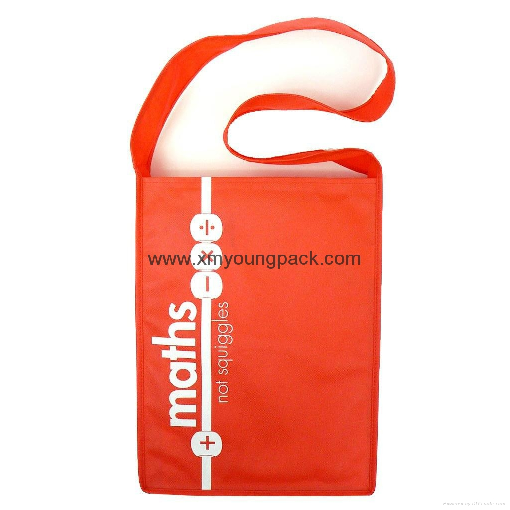 Promotional custom non woven polypropylene flap satchel bag 10