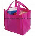 Promotional large hot pink non woven reusable grocery bag