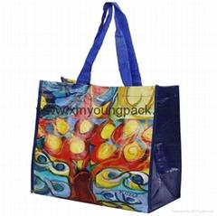 Long shoulder strap large glossy laminated plastic woven pp bag