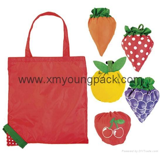 Wholesale cheap reusable nylon folding strawberry shopping bags 1