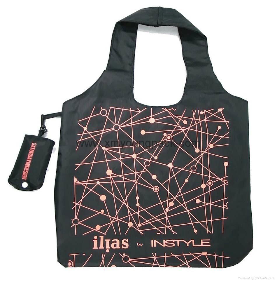 Wholesale cheap reusable nylon folding strawberry shopping bags 10