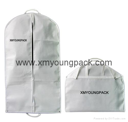 Personalized custom printed white non woven suit cover bag 1
