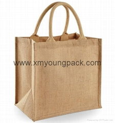 Fashion custom printed large two tone jute shopper bag jute carry bag