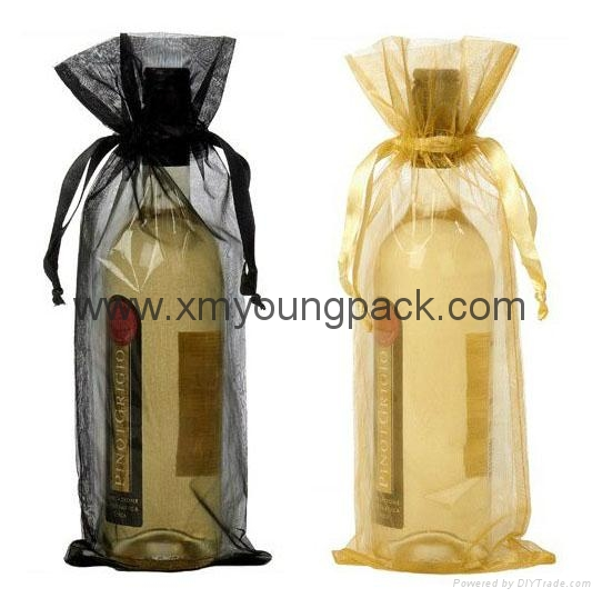 Wholesale promotional custom small 100% polyester satin fabric gift bags 4