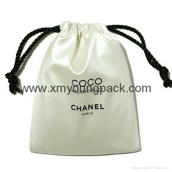 Promotional custom small white satin drawstring jewelry pouch 1