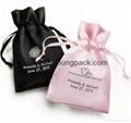 Promotional custom small white satin drawstring jewelry pouch 2