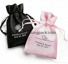 Wholesale bulk personalized custom small black and pink satin wedding favor bags