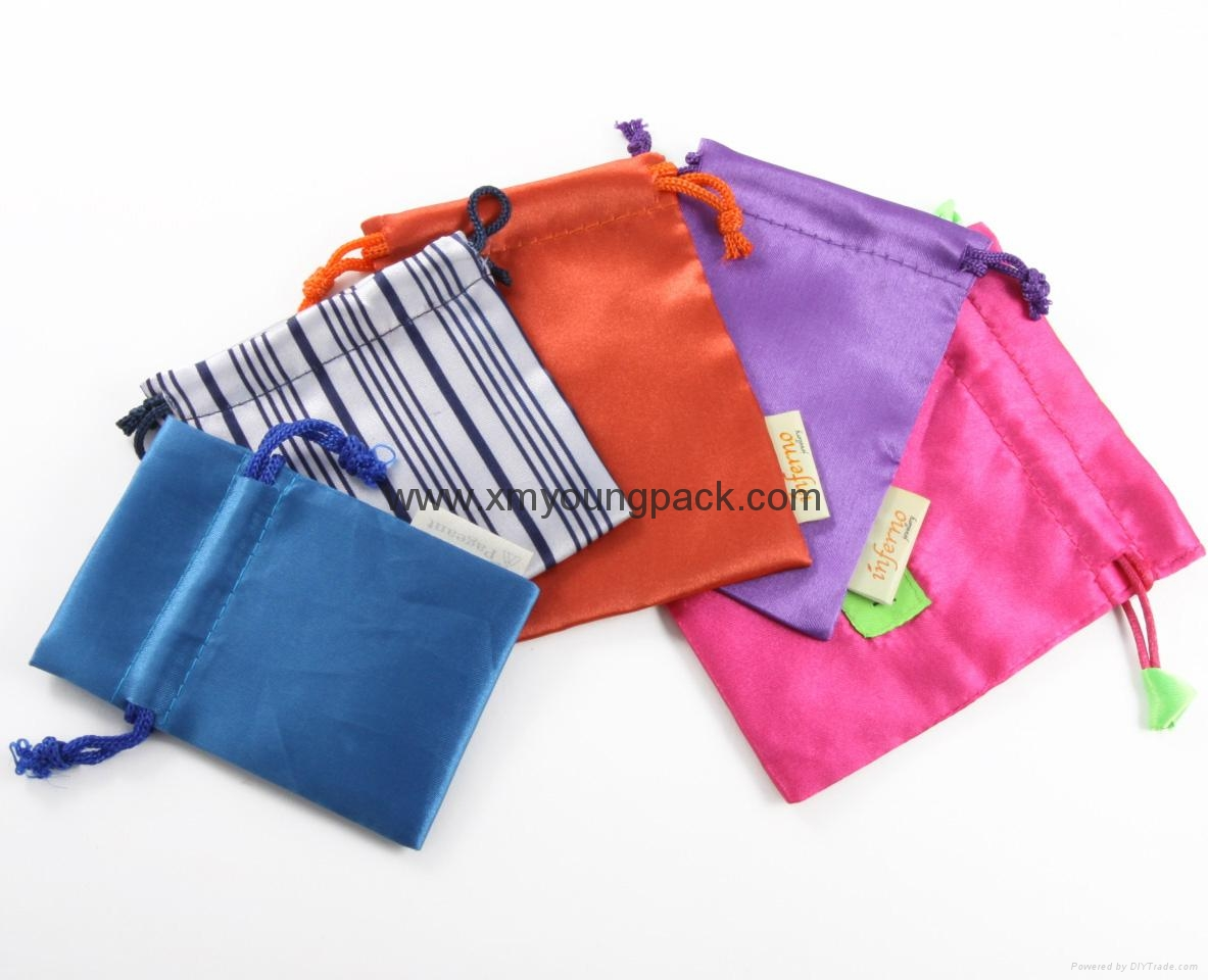Wholesale bulk personalized custom small black and pink satin wedding favor bags 11