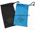 Promotional custom printed black soft microfiber cloth bag with drawstring 3