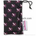 Promotional custom printed black soft microfiber cloth bag with drawstring 2