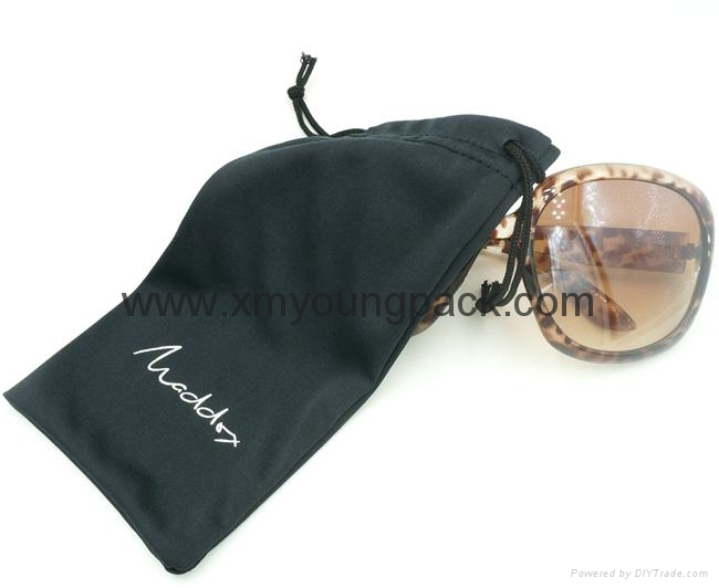 Promotional custom printed black soft microfiber cloth bag with drawstring 6