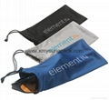 Promotional custom printed black soft microfiber cloth bag with drawstring