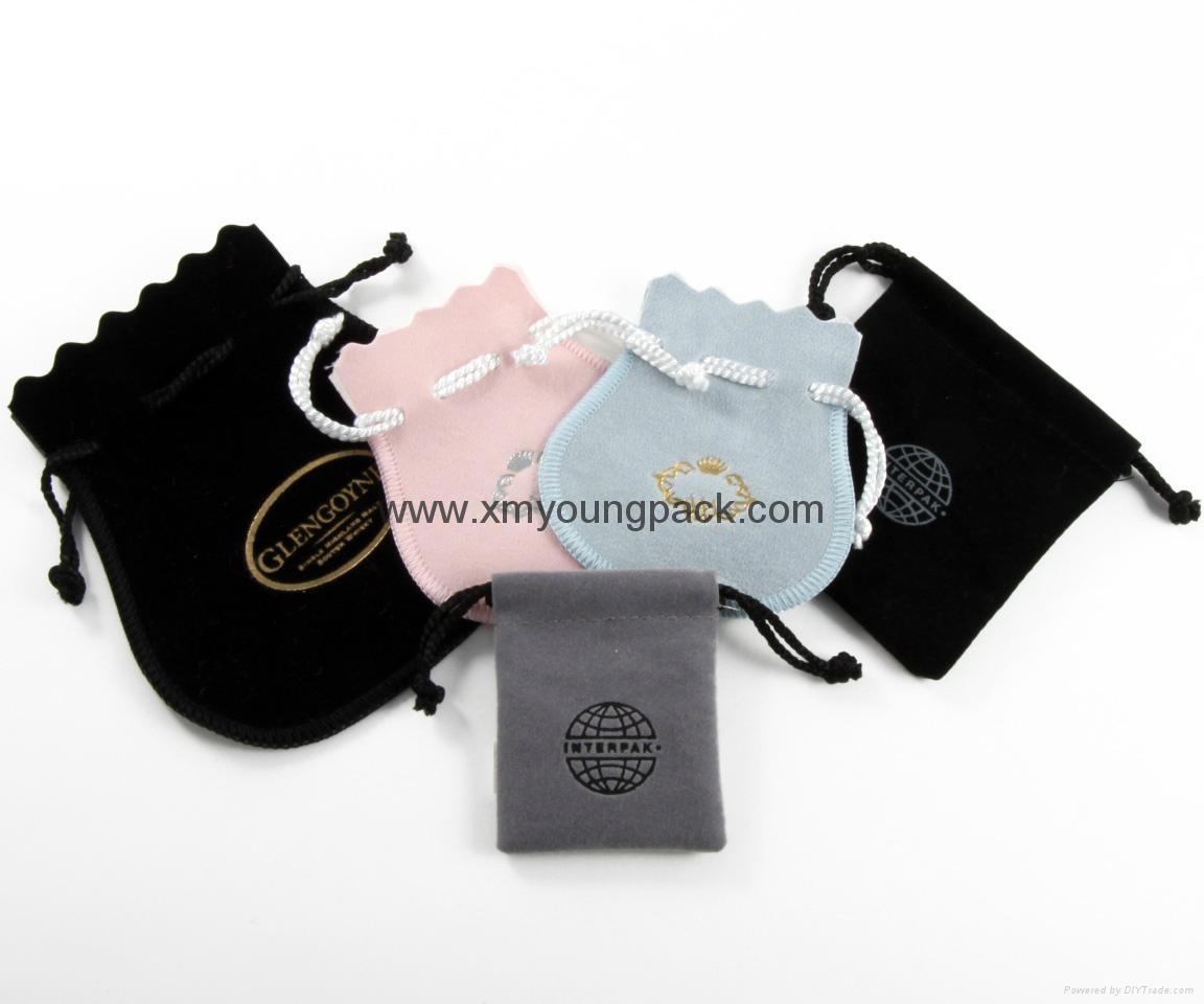 Promotional custom printed black soft microfiber cloth bag with drawstring 9