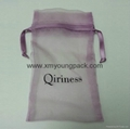 Wholesale promotional large silver organza drawstring pouch organza bags 6