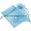 Wholesale promotional large silver organza drawstring pouch organza bags 3
