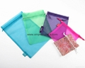 Wholesale promotional large silver organza drawstring pouch organza bags