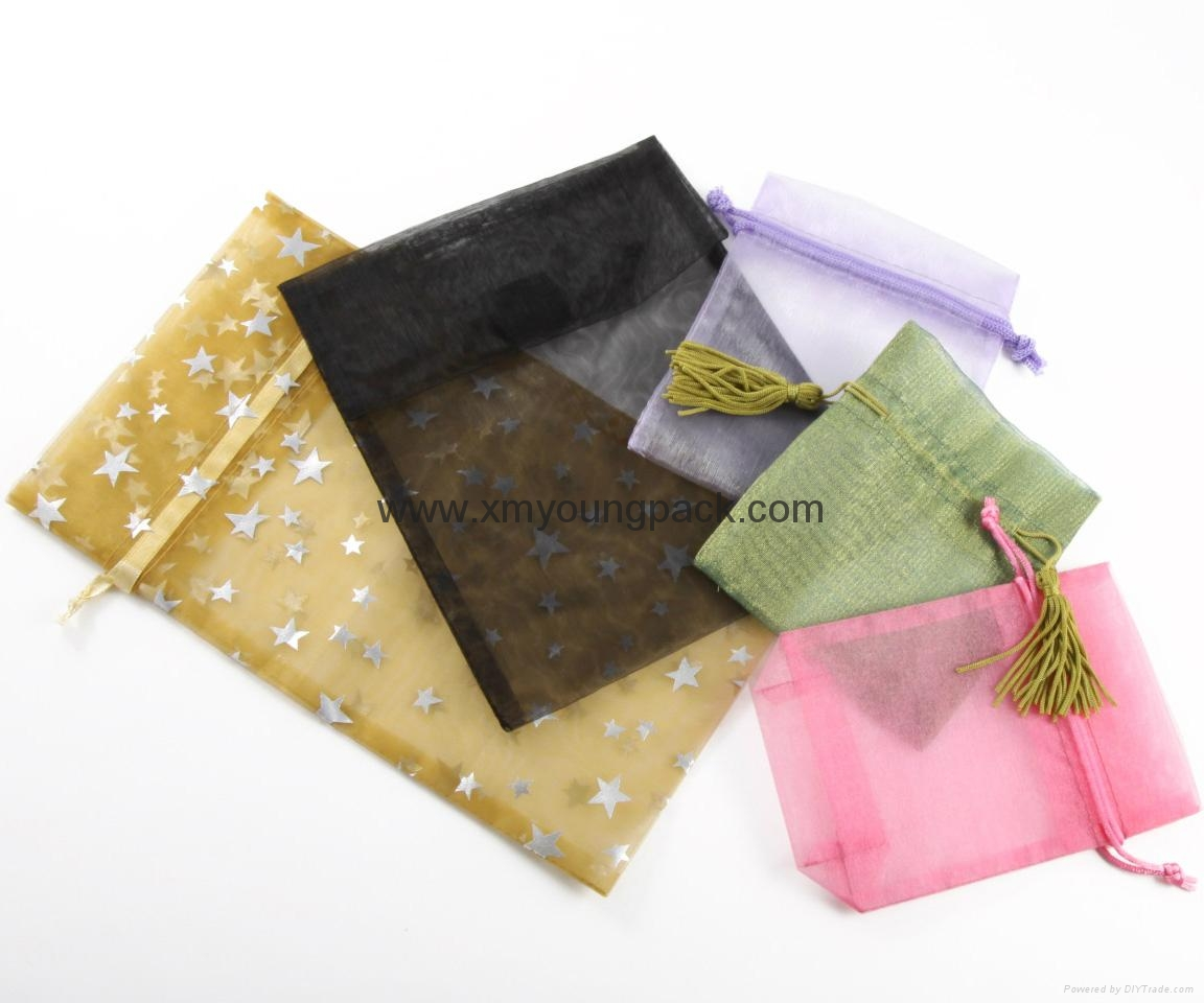 Wholesale promotional large silver organza drawstring pouch organza bags 9