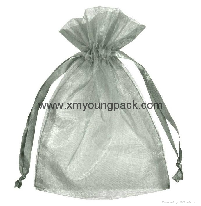 Wholesale promotional large silver organza drawstring pouch organza bags 1