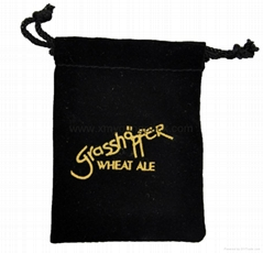 Custom hot stamped silver foil logo printed small black velvet bag