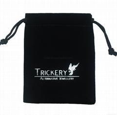 Custom hot stamped silver foil logo printed small black velvet bag