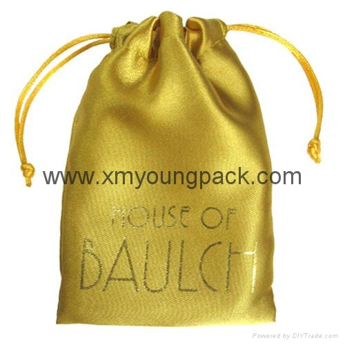 Fashion custom printed gold drawstring pouch satin jewelry bag 1