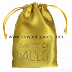 Fashion custom printed gold drawstring pouch satin jewelry bag
