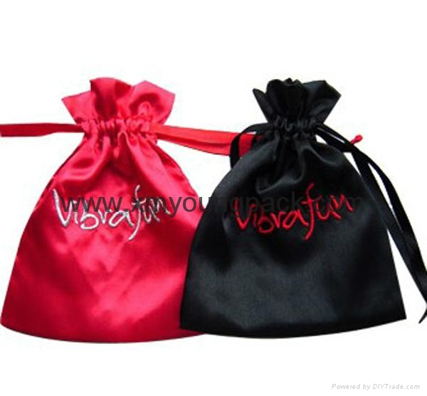 Fashion custom printed gold drawstring pouch satin jewelry bag 2