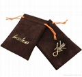Wholesale custom small white faux suede drawstring jewelry pouches