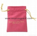 Wholesale custom small white faux suede drawstring jewelry pouches 2