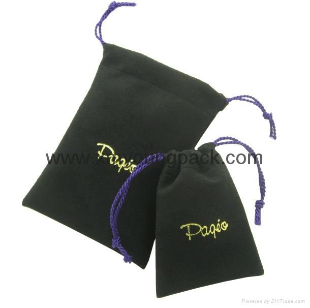 Custom printed small faux suede jewelry bag promotional suede gift bags 4