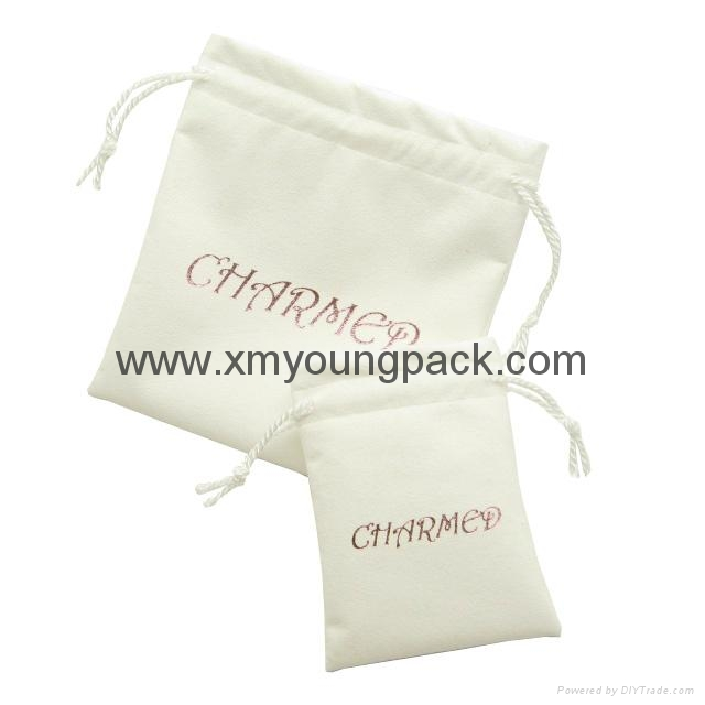 Custom printed small faux suede jewelry bag promotional suede gift bags 3
