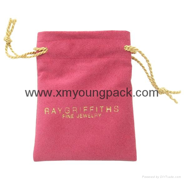 Custom printed small faux suede jewelry bag promotional suede gift bags 5