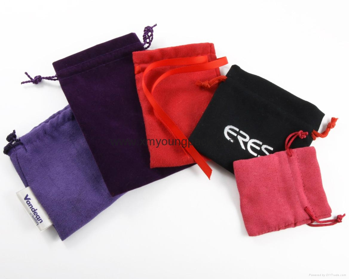Custom printed small faux suede jewelry bag promotional suede gift bags 8