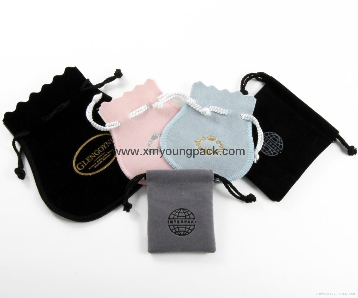 Custom printed small faux suede jewelry bag promotional