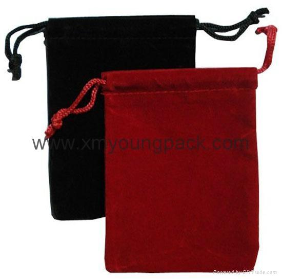 Custom printed small pink velvet jewelry bag drawstring velvet pouch 2