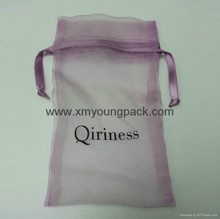 Promotional custom printed small white organza bag 2
