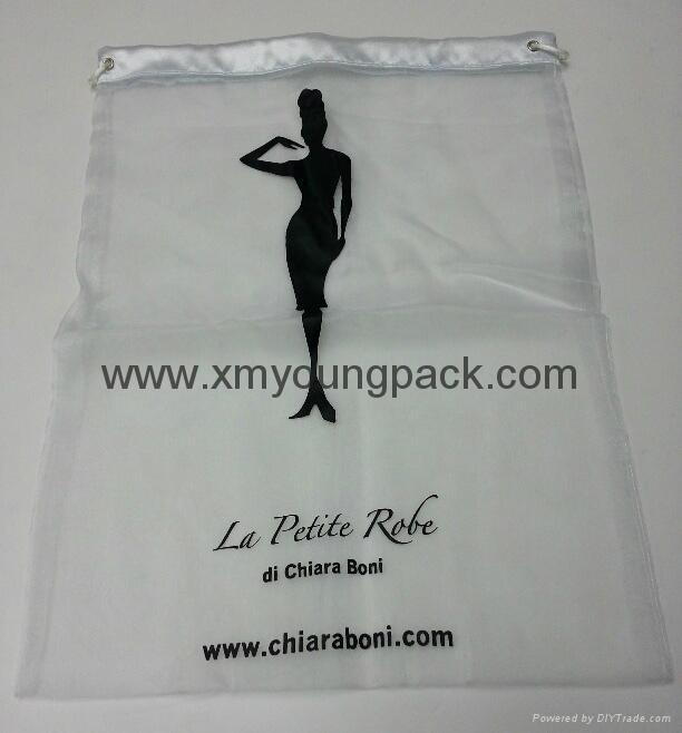 Promotional custom printed small white organza bag 3