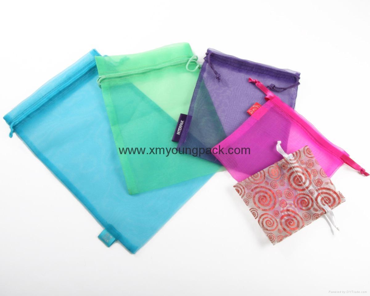 Promotional custom printed small white organza bag 5