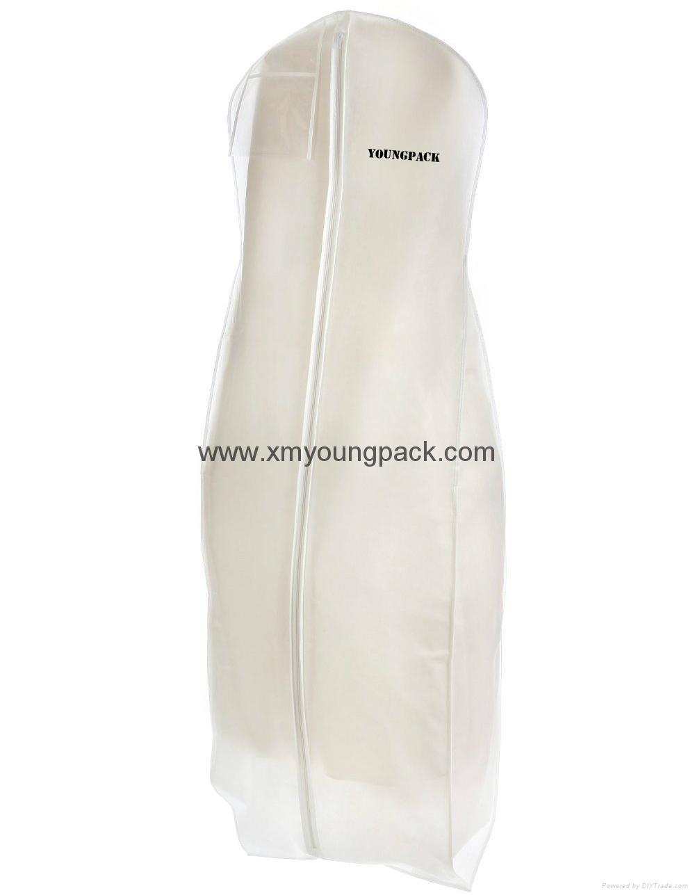 Custom printed white bridal gown dress bag non woven wedding dress cover 1