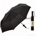 Promotional gifts custom printed black polyester wine bottle umbrella