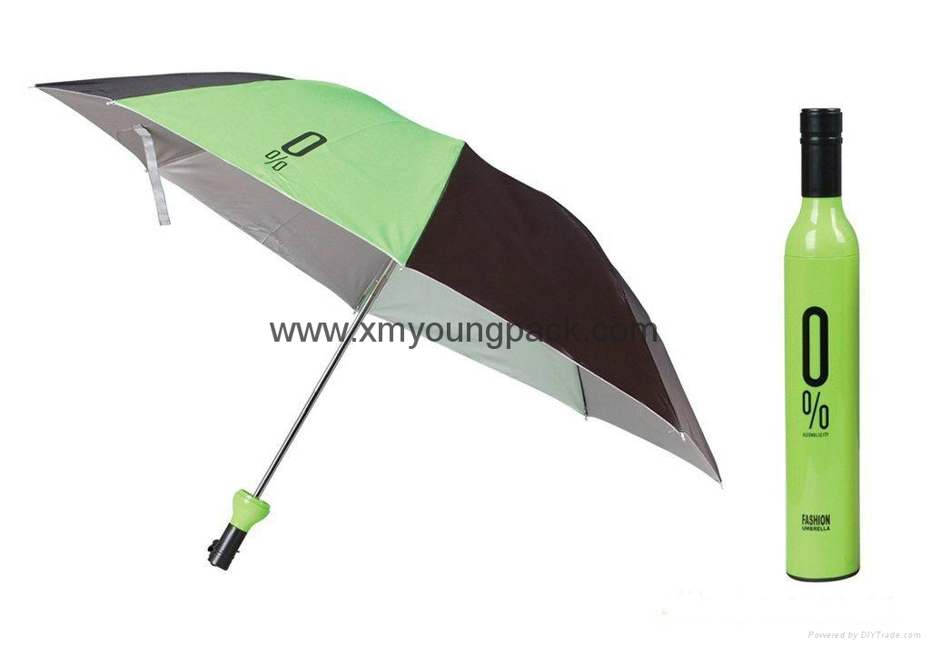 Promotional gifts custom printed black polyester wine bottle umbrella 2