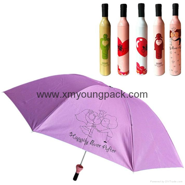 Promotional gifts custom printed black polyester wine bottle umbrella 3