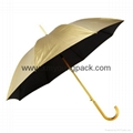 Wholesale promotional custom printed auto open close metallic gold UV umbrella 1