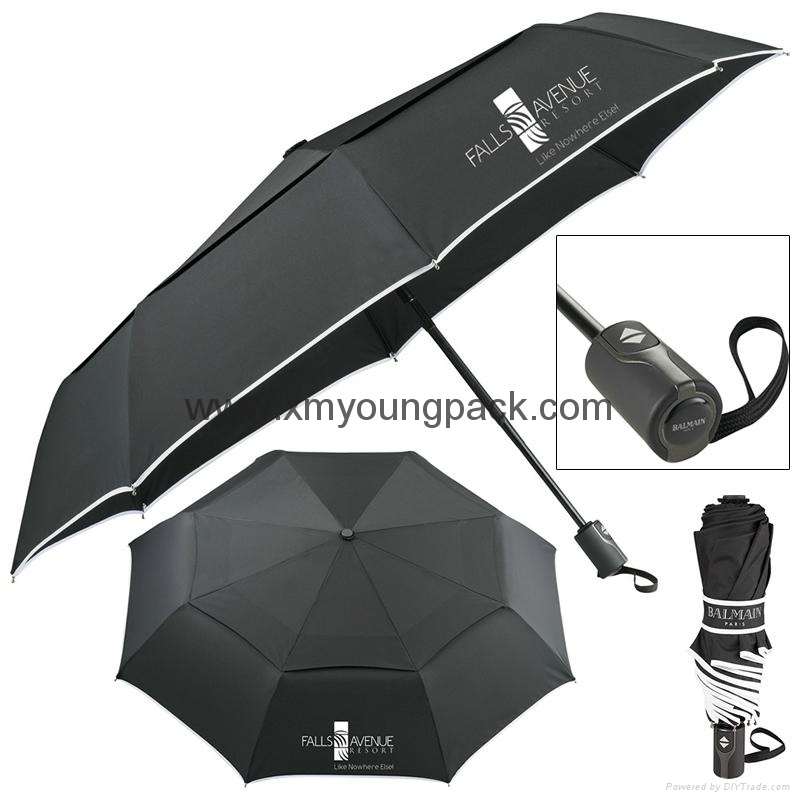 Wholesale promotional custom printed auto open close metallic gold UV umbrella 10