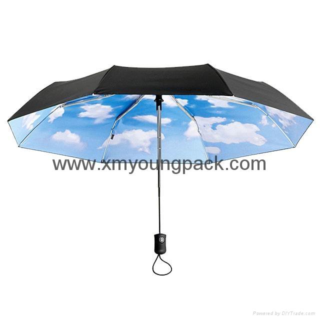 Fashion customized printed mini sky collapsible sun umbrella 1