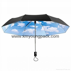 Fashion customized printed mini sky collapsible sun umbrella