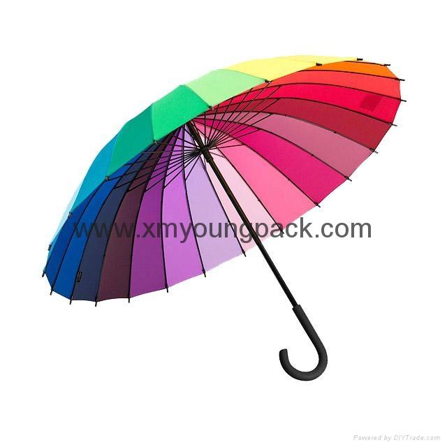 Promotional popular rainbow umbrella creative color wheel stick umbrella 1