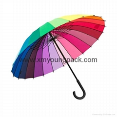 Promotional popular rainbow umbrella creative color wheel stick umbrella