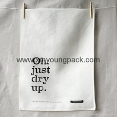 Promotional custom printed plain white 100% organic cotton tea towel