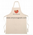 Promotional custom printed white 100% organic cotton canvas apron
